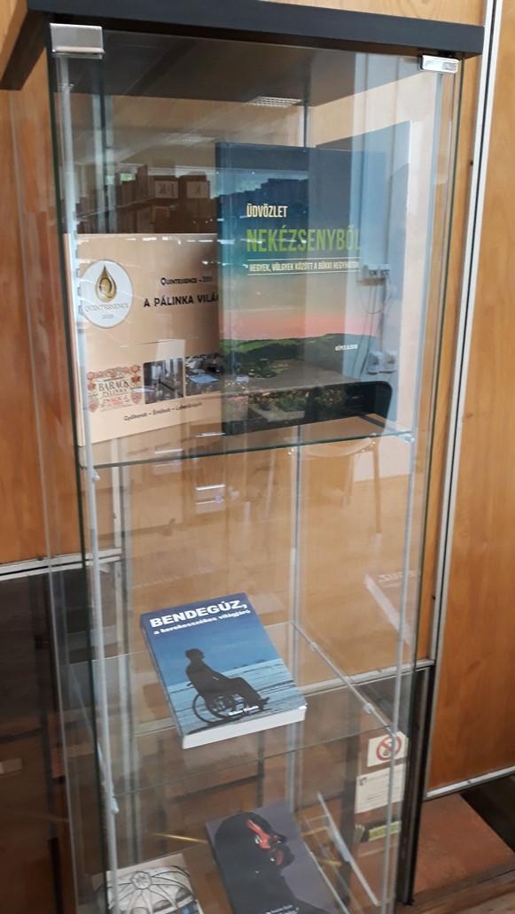A könyv a Megyei Könyvtár vitrinjében. Köszönjük a fotót Hideg Ágnesnek.